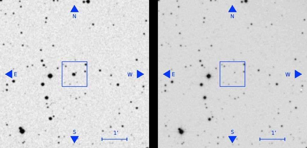 Sur l'image de gauche, datant des années 1950, une étoile qui a disparu sur l'image de droite, plus récente, de la même région du ciel. © Villaroel et al., Vasco project