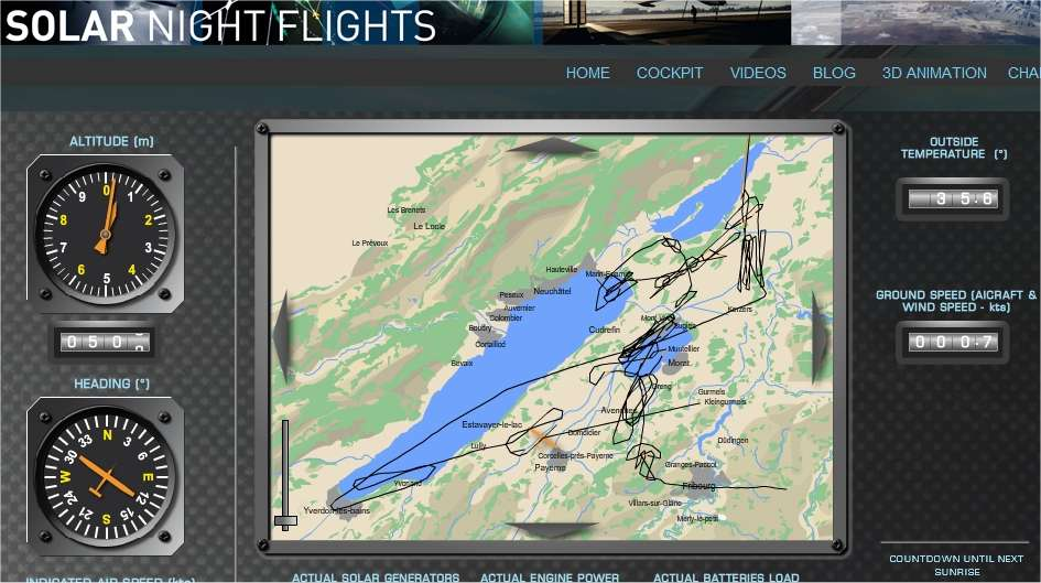Le cockpit virtuel du HB-SIA, visible sur le site Web de Solar Impulse, à la fin du vol d'André Borschberg. L'écran montre la route suivie pendant 26 heures, entre le Jura (à gauche) et les lacs de Neuchâtel (le grand) et de Morat (le petit). © Solar Impulse