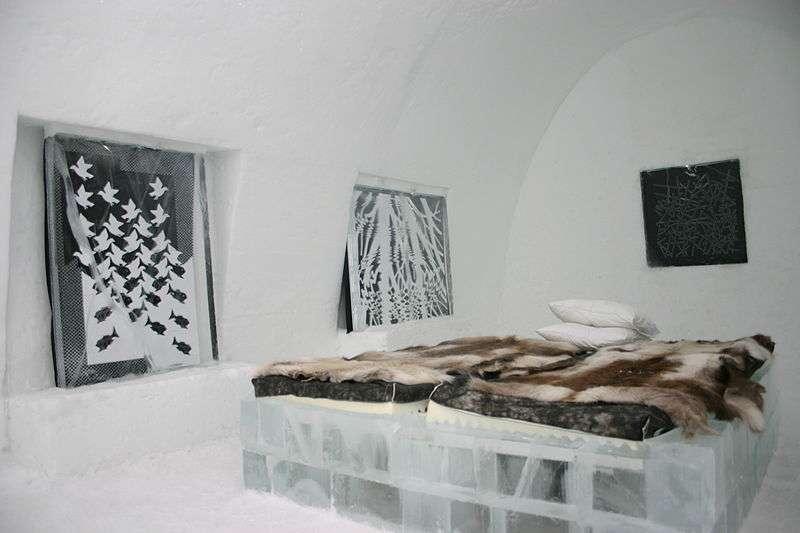 Suite glacée d'un ice hotel, en Suède