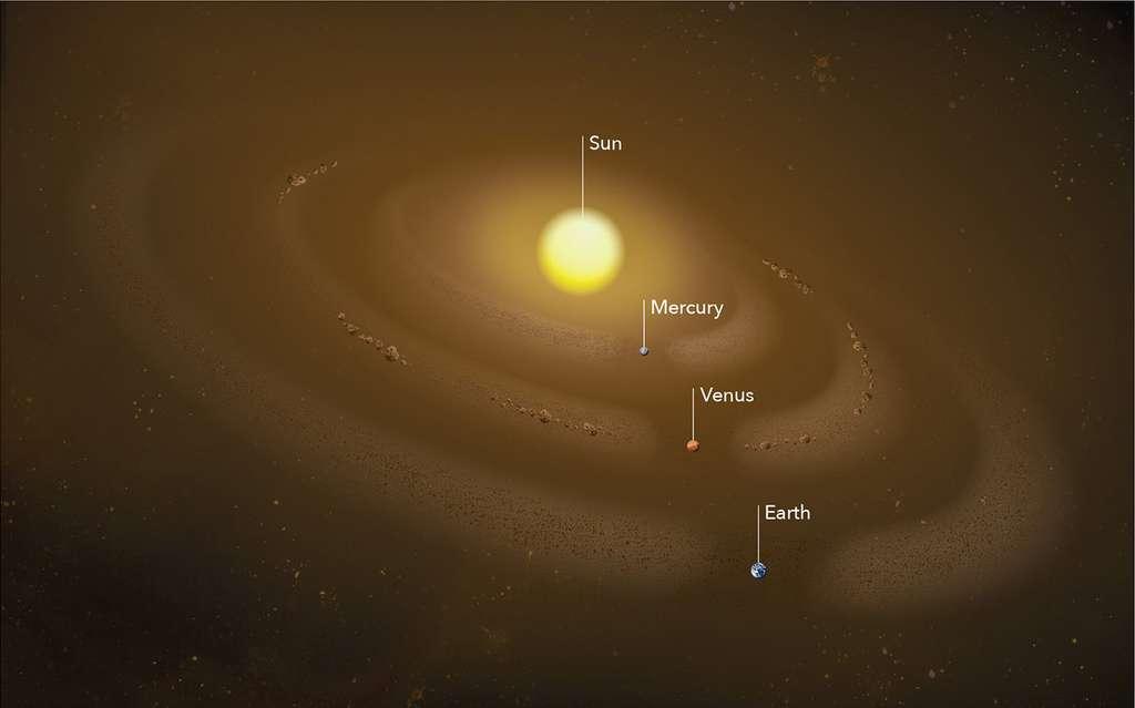 Une vue d'artiste des anneaux de poussière zodiacale associés aux orbites des planètes internes du Système solaire. © Nasa's Goddard Space Flight Center, Mary Pat Hrybyk-Keith
