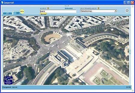 Géoportail 3D (vue de Paris).