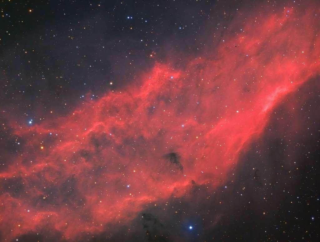 NGC 1499 : la nébuleuse Californie. N'espérez-pas l'observer comme ça dans un télescope ! Cette image est le fruit de 6h30 de poses. © Bastien Foucher - Tous droits réservés