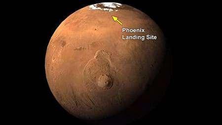 Lieu d'atterrissage de Phoenix près du pôle nord martien. Crédit Nasa