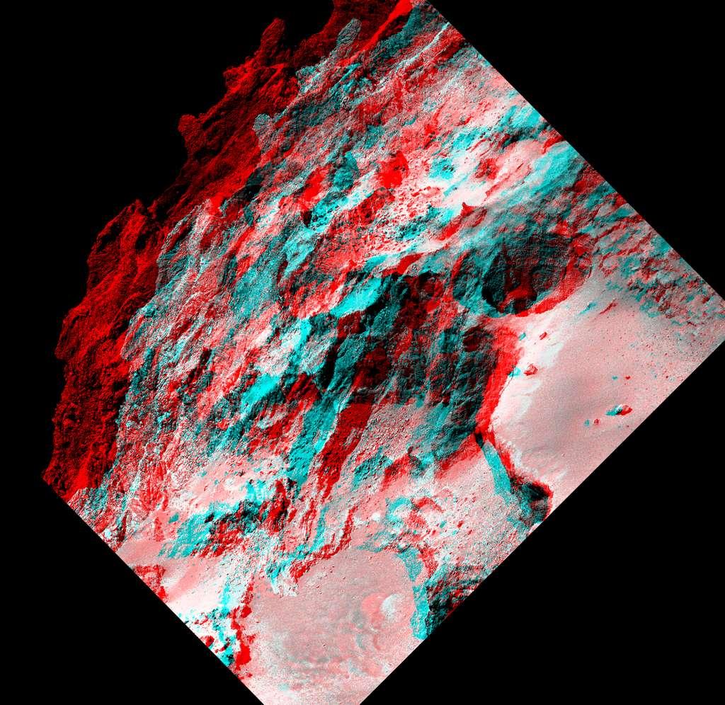 Détail de la région appelée Seth sur Tchouri, en relief. © CNES, ESA, Rosetta, MPS pour Osiris Team MPS, UPD, LAM, IAA, SSO, INTA, UPM, DASP, IDA