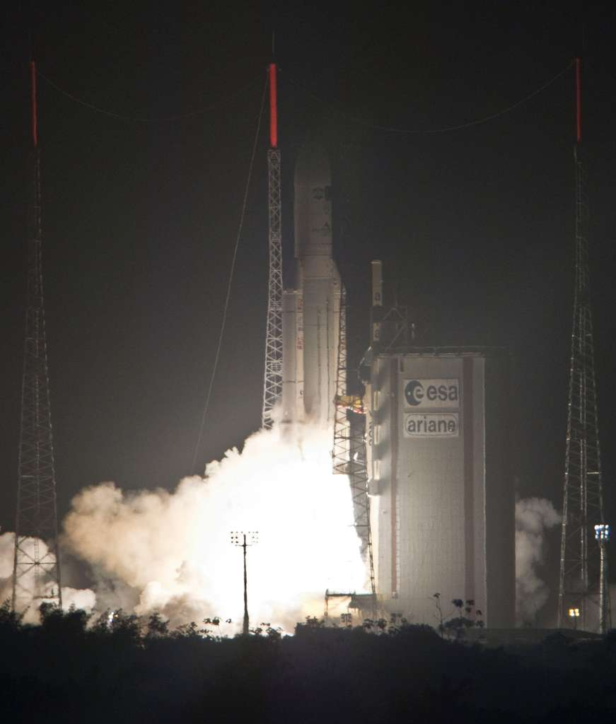 Ariane 5 assurer un éventail complet de missions, des lancements commerciaux vers l'orbite géostationnaire aux lancements spécifiques sur des orbites particulières, comme celle de l'ATV. © Esa/S. Corveja