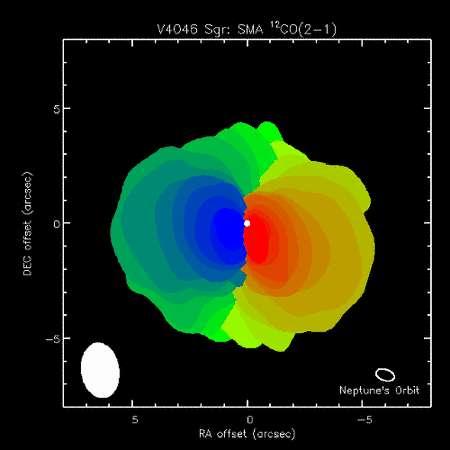 La molécule de monoxyde de carbone peut émettre dans le domaine submillimétrique. Sur cette image, obtenue avec les radiotélescopes du SMA, le disque en rotation autour de V4046 Sagittarii est bien visible et sa taille est comparée à celle de l'orbite de Neptune en bas à droite. En bleu, le décalage Doppler indiquant la partie du disque se rapprochant de nous et en rouge celle s'éloignant. Crédit : Joel Kastner/SMA