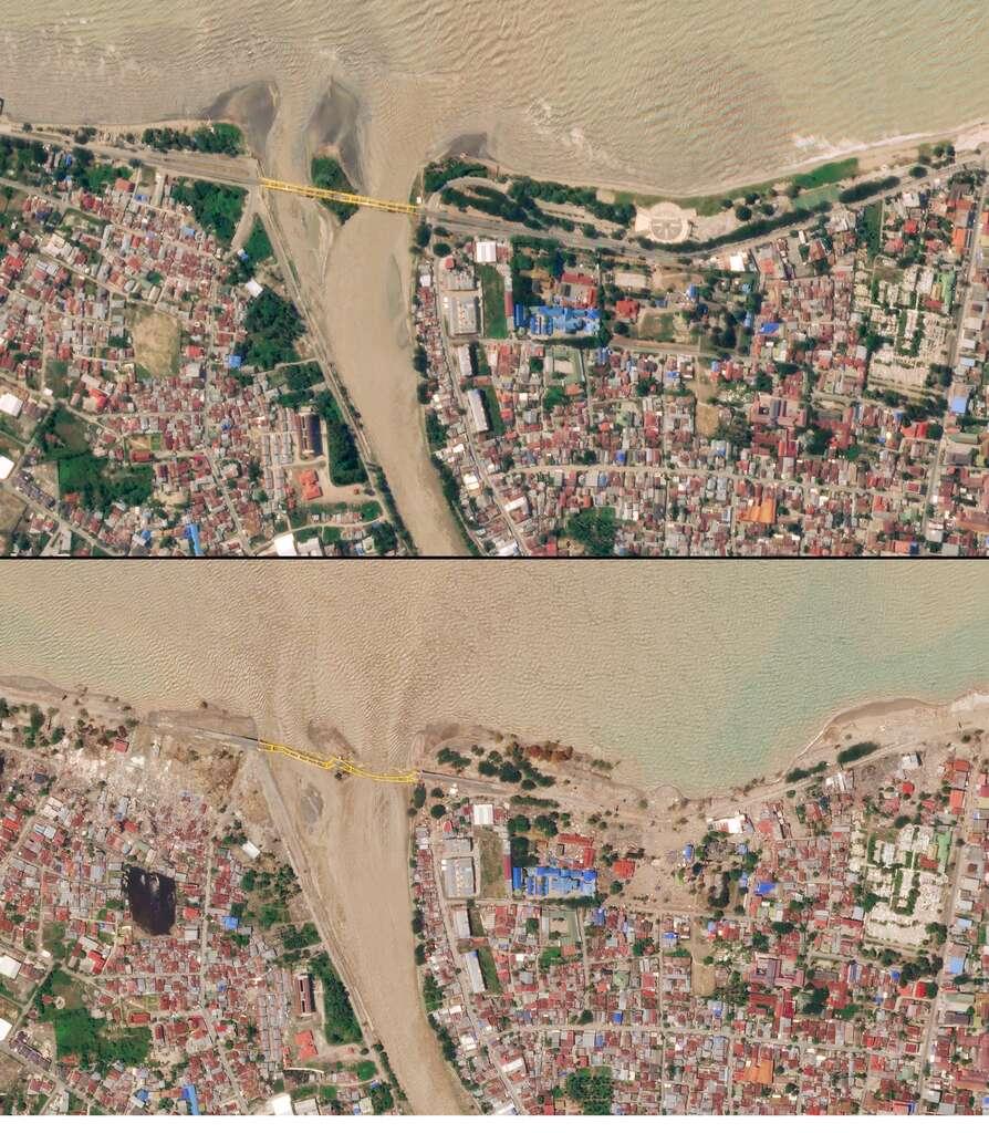 En septembre 2018, un tremblement de terre suivi du tsunami qui en a résulté à Palu, en Indonésie, ont causés des dommages dévastateurs, comme la destruction d'un pont. Les images satellite, prises trois jours après le séisme, montrent l'impact considérable de la catastrophe. © 2018 Planet Labs, Inc.
