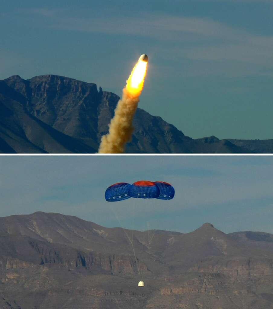 Vol d'essai du mécanisme de secours du New Shepard. Ce dispositif doit éloigner du moteur la partie habitée du véhicule en cas de grave problème. © Blue Origin