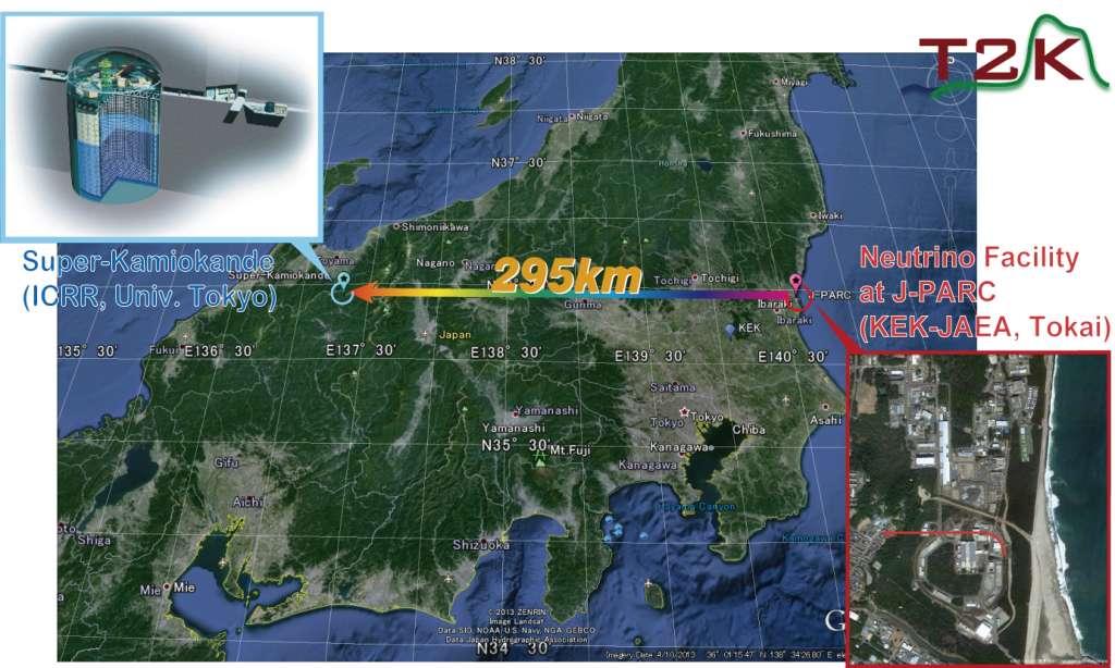 On voit sur cette carte les localisations du détecteur Super-Kamiokande et du synchrotron à protons J-Parc de Tokai. Pour tester les théories sur l'oscillation des neutrinos, on a envoyé des faisceaux de neutrinos muoniques produits à Tokai à travers 295 km de roches en direction de Super-Kamiokande. © T2K Collaboration, 2013