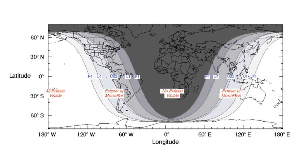 Les zones de visibilité de l'éclipse de Lune du 26 mai 2021. © Nasa