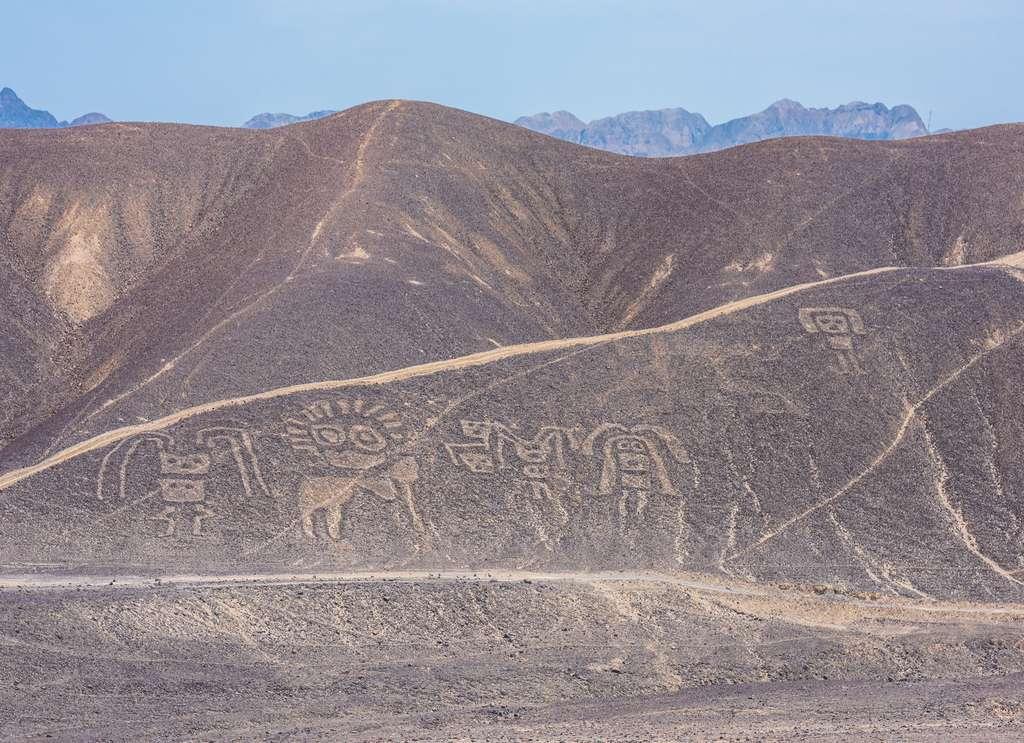 Géoglyphes sur les collines à Palpa, au Pérou. © javarman, fotolia