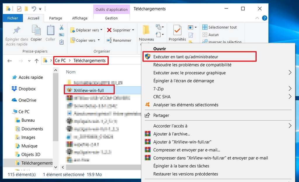 Il faut exécuter le fichier en tant qu'administrateur pour l'installer. © Microsoft