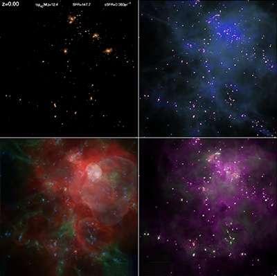 Sur ces quatre panneaux, on découvre les détails extraits de la simulation d'une même région (large de 24.400 années-lumière), affichée ici selon des paramètres différents : luminosité des étoiles en haut à gauche, densité des gaz en haut à droite, température en bas à gauche et métallicité de la matière (éléments plus lourds que l'hydrogène et l'hélium) en bas à droite. © Illustris Collaboration