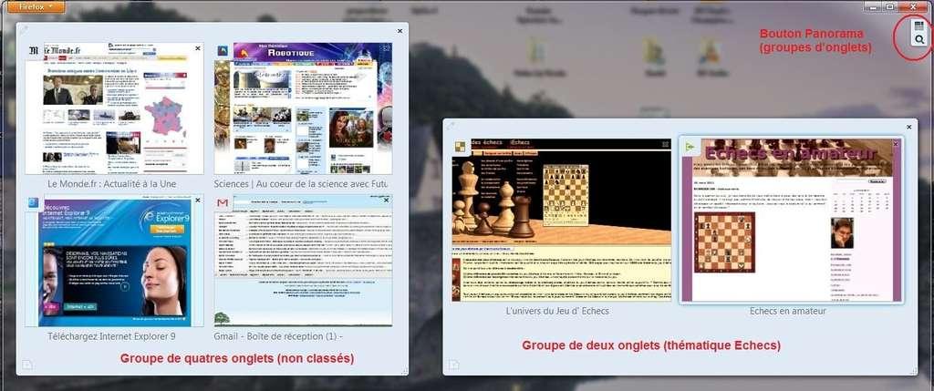 Le mode Panorama permet d'afficher et d'organiser tous les onglets ouverts sur une seule page. © Mozilla