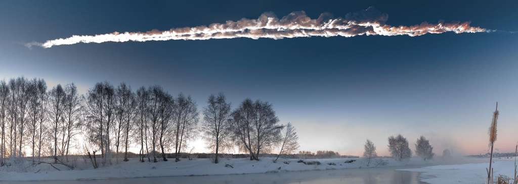 Trace de la trajectoire de la météorite de Tcheliabinsk. © M. Ahmetvaleev, Droits réservés