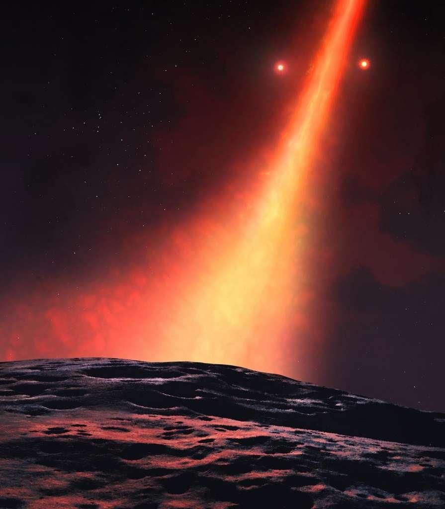 Une image d'artiste de la vue depuis une exoplanète en formation dans le disque de débris autour de HD 98800 B. © University of Warwick/Mark Garlick
