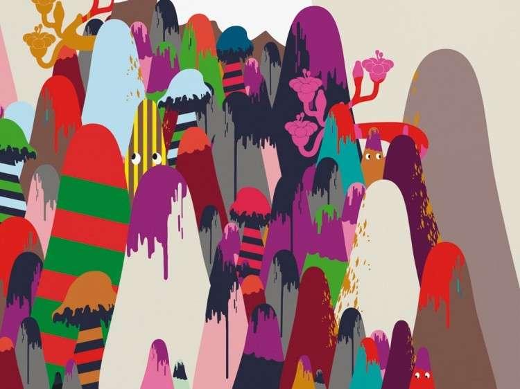 Panoramique sur intissé de H. 300 x L. 372 cm, en huit lés de 46,5 cm de large, recoupable aux mesures du mur à couvrir. Lavable, résistant à la lumière, classé feu M1. Pose par encollage du mur. Édition limitée à 100 exemplaires par an. Référence Mountains de Domestic (480 €). © www.madeindesign.com