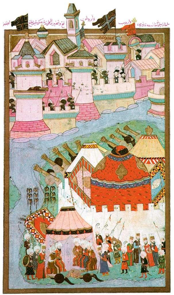 Miniature ottomane représentant le siège de la ville de Vienne par l'armée de Soliman en 1529 ; publiée dans Die Welt, Berlin, décembre 2015. © Courrier international.