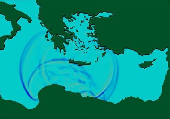 Simulation d'une onde de choc au niveau de la Crète, 10 minutes après un séisme. En l'an 365 après J.C., une succession de tremblements de terre (le plus grand de magnitude estimée à 8,5) a provoqué un tsunami frappant la Grèce, l'Italie et l'Égypte et tuant quelque 5.000 personnes pour la seule ville d'Alexandrie. © Achilleas Samaras et al., Ocean Science