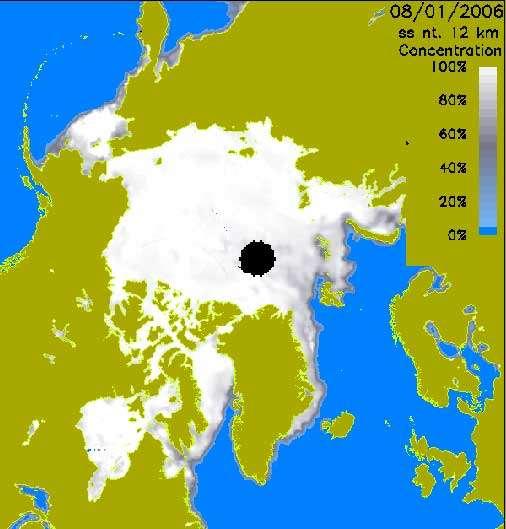 Voir animation de la glace arctique d'octobre à janvier, avec update hebdomadaire. Concentration obtenue à partir de données satellites (d'où le trou au pôle, car le satellite ne fournit pas les données adéquates.)