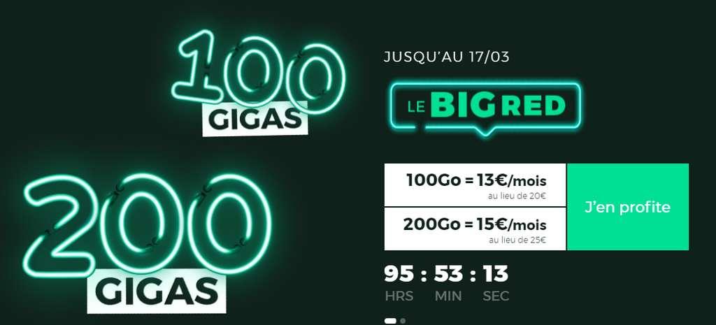 Forfaits 200 Go et 100 Go en promotion © RED By SFR