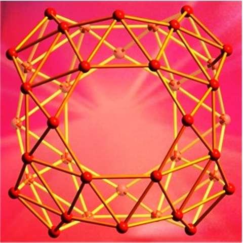 Le borosphèrène est constitué de nombreux triangles. Bien que sa forme soit approximativement sphérique il n'est pas aussi lisse que son cousin en carbone le buckminsterfullerène. © Brown University
