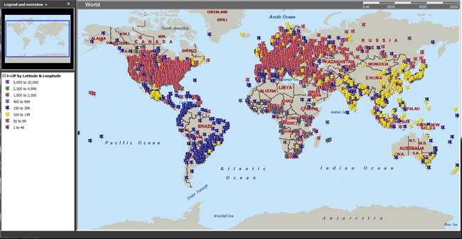 Cette carte montre la propagation du botnet Rustock qui fut l'un des plus redoutables ces dernières années. Très actif entre 2010 et 2011, il a généré jusqu'à 47,5 % du spam mondial. Microsoft avait mené une action contre ce botnet en mars 2011. © Microsoft