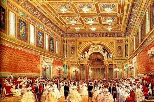 La salle de bal en 1856 par Louise Haghe, la plus grande pièce du palais de Buckingham. © Wikimedia Commons, Public domain