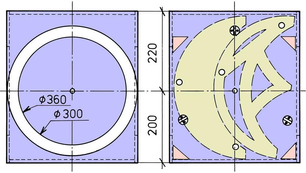Implantation du dessous du rocker (à gauche) et du dessus du socle (à droite). © P. Strock.