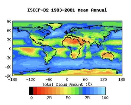 Figure 9: couverture nuageuse totale d'après ISCCP (voir note 7). On notera la grande fréquence des nuages au dessus des océans des latitudes moyennes.