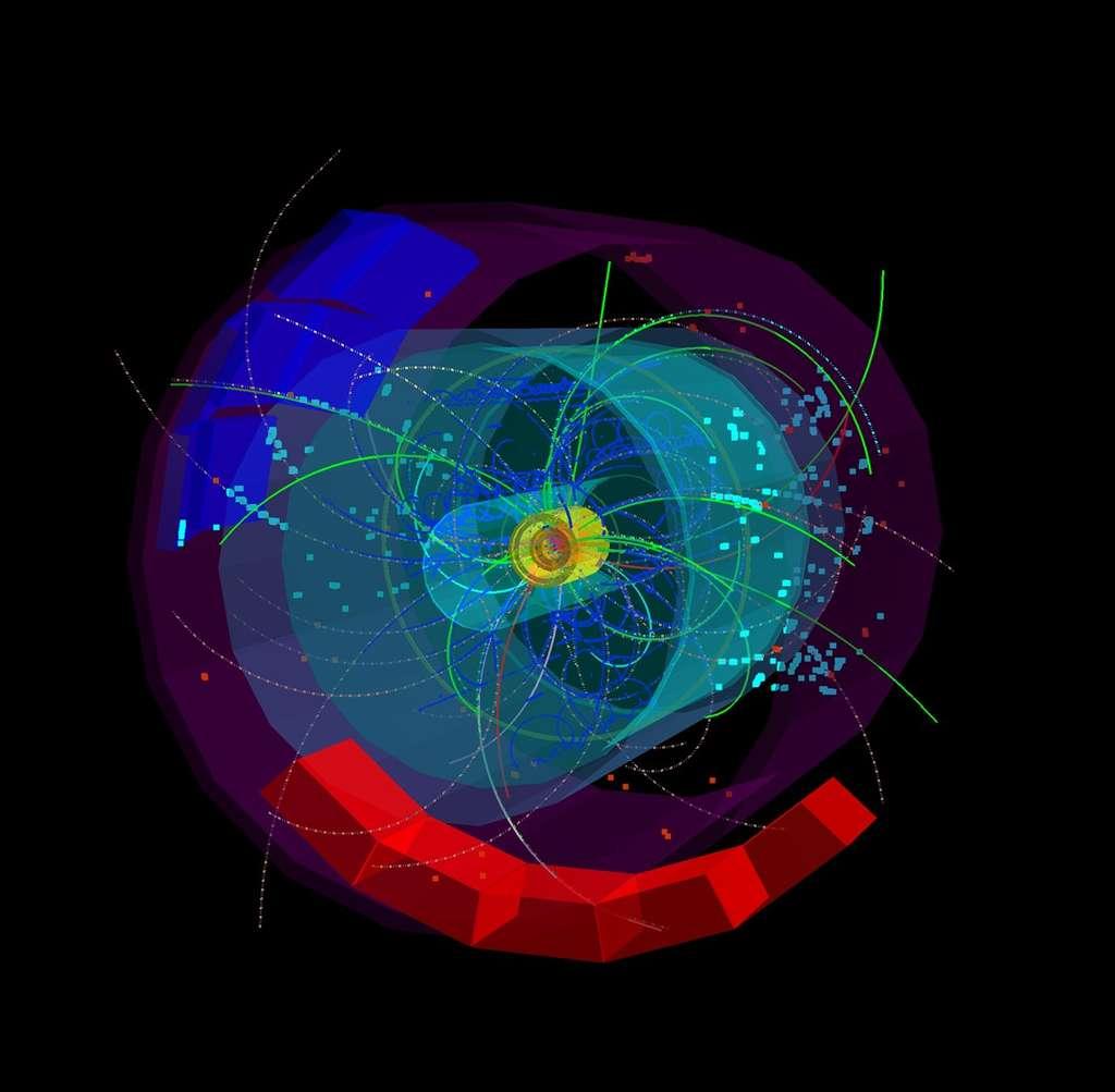 Les traces de particules jaillissent du cœur de l'expérience Alice, résultant de l'une des premières collisions à une énergie totale de 7 TeV. Crédit : Despina Chatzifotiadou-Cern