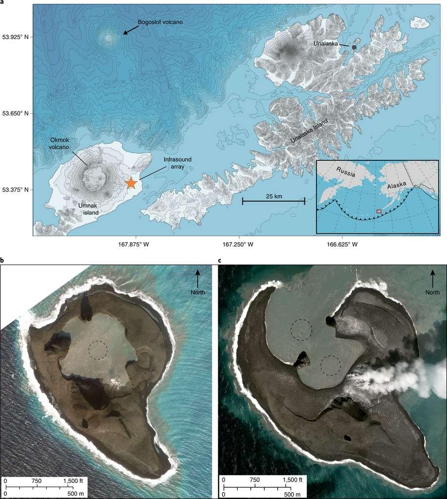 Le volcan Bogoslof, situé en Alaska, a produit une série d'explosions entre décembre 2016 et août 2017, enregistrées grâce à des capteurs d'infrasons (en orange sur la carte. © John J. Lyons et al., Bogolsfo, 2019