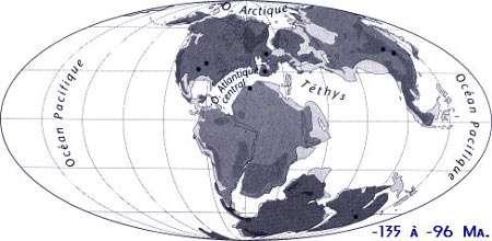 Carte paléogéographique de -135 à -96 millions d'années. © J.-L. Hartenberger