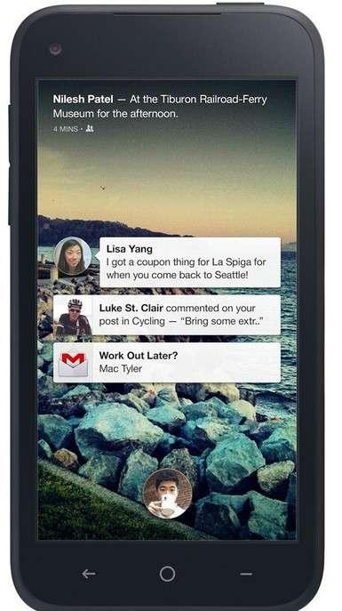 Voici à quoi ressemble le fil de couverture de Facebook Home. Il se substitue à l'écran de verrouillage et à la page d'accueil du smartphone Android, pour afficher les contenus et les mises à jour reçus par un membre du réseau social. © Facebook