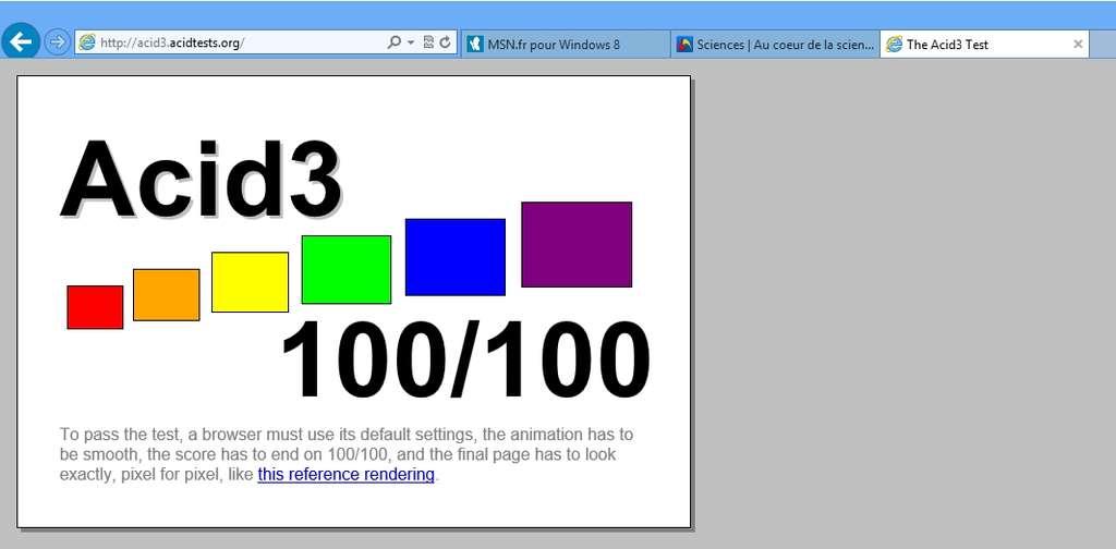 Avec un score de 100/100 au test Acid3, Internet Explorer 10 se montre respectueux des principaux standards d'affichage du Web. Dommage qu'un plug-in comme le lecteur Flash d'Adobe ne fonctionne qu'avec sa version Bureau. © Eureka Presse