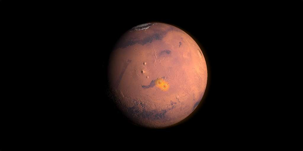 Localisation des zones sismiques actives sur Mars. © Nasa, IPGP