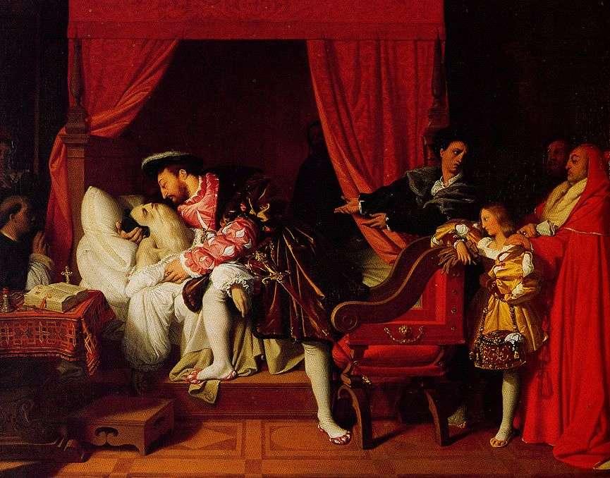 La mort de Léonard de Vinci représentée par Jean-Auguste-Dominique Ingres. Léonard de Vinci a passé plusieurs années en France à l'invitation de François Ier. © Wikimedia Commons, DP