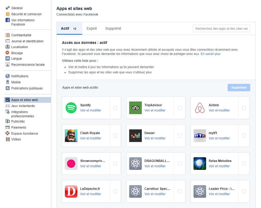 Des sites et apps peuvent avoir accès à certaines de vos données. Vous pouvez voir lesquelles et modifier ou supprimer leur autorisation. © Facebook
