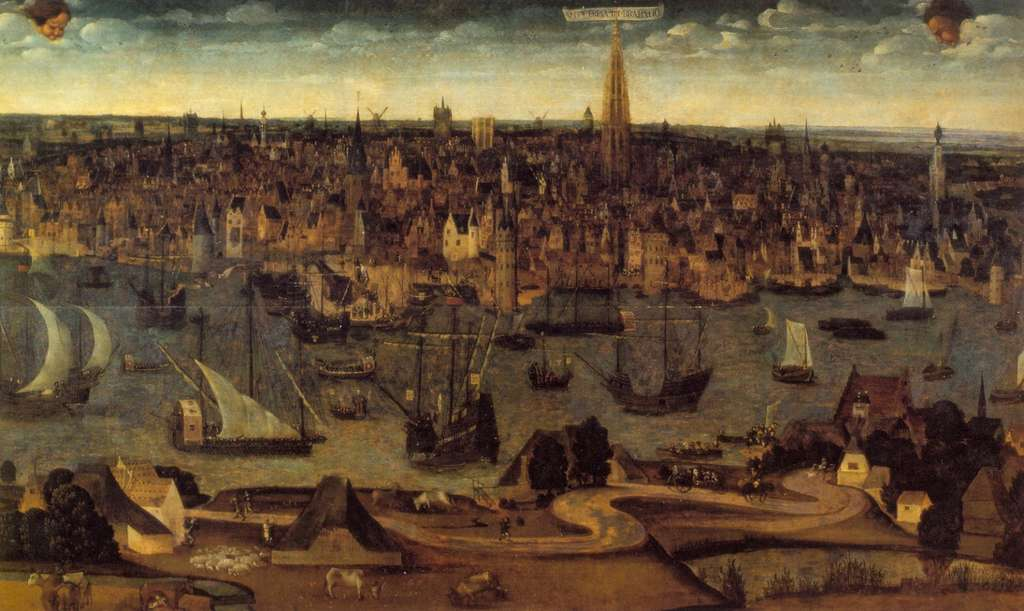 Vue d'Anvers vers 1515 ; sans doute, la plus ancienne représentation de la ville connue à ce jour. Auteur anonyme. Blog de Jan Lampo. © janlampo.com