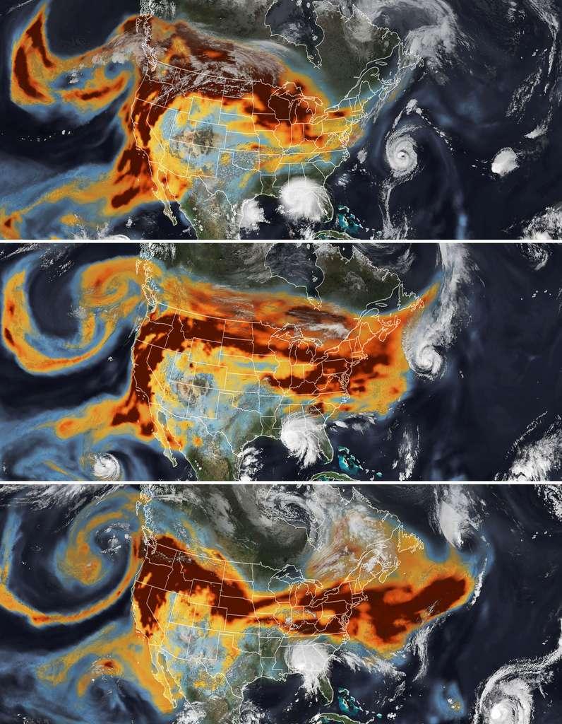 En septembre 2020, les satellites de la Nasa ont saisi des images stupéfiantes des fumées des incendies (en couleurs chaudes sur les images) qui brûlaient alors la côte ouest des États-Unis pris dans les tourbillons de deux ouragans : Paulette (en haut à droite de la 2e image) et Sally (en bas au centre de la 2e image). © Nasa Earth Observatory