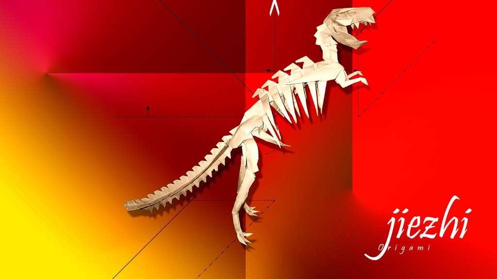 Un tyranosaure en papier
