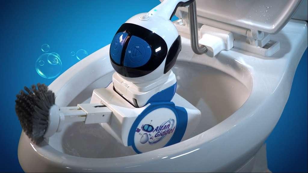 Le robot Giddel se fixe sur les toilettes et les nettoie en moins de cinq minutes. © Altan Robotics
