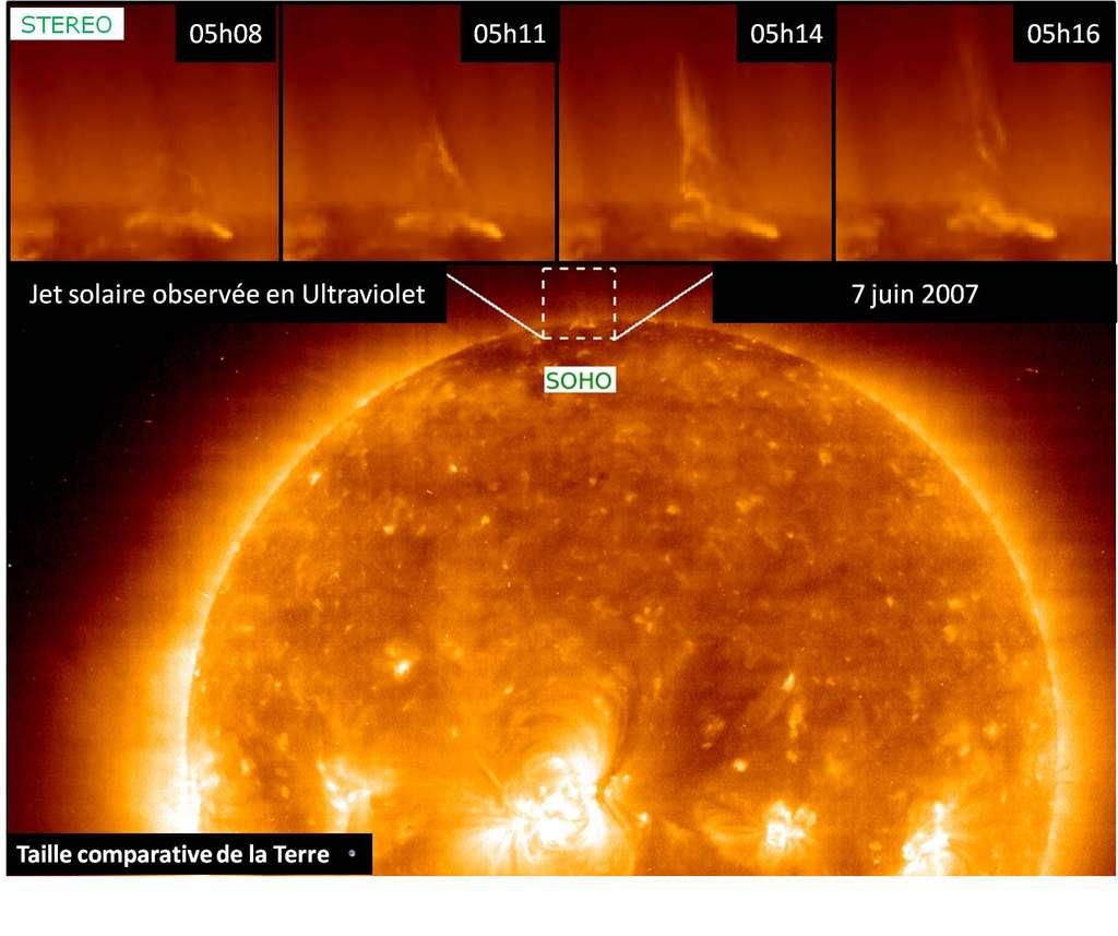 Observations par les satellites Stereo et Soho de l'évolution d'un « jet » au niveau d'un pôle solaire. © Soho, Stereo