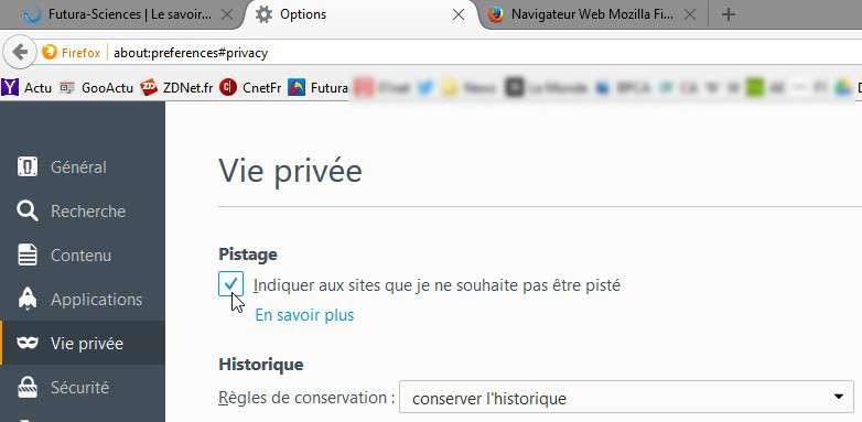 La fonction « ne pas me pister » dans Firefox. © Futura-Sciences