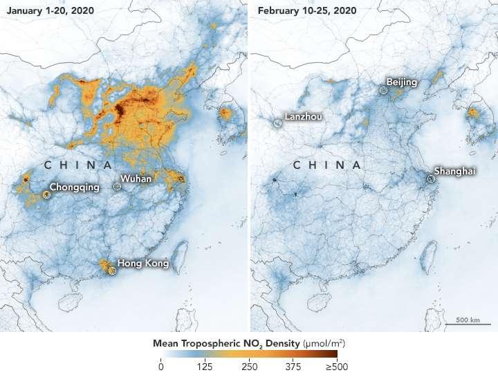 Sur ces images, la chute vertigineuse de pollution au dioxyde d'azote (NO2) en Chine entre janvier et février 2020. © Joshua Stevens, Earth Observatory