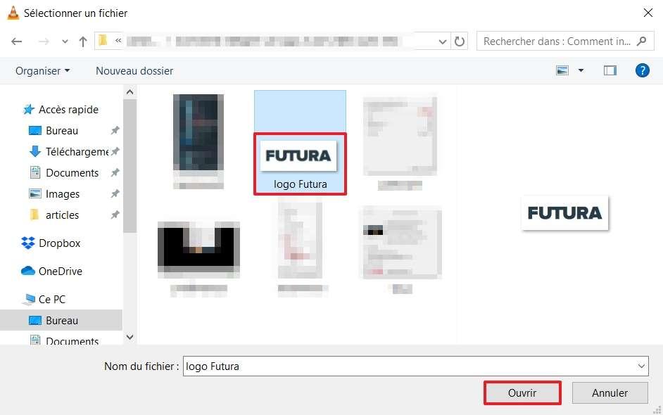 Sélectionnez un logo et cliquez sur « Ouvrir ». © VideoLAN Organization