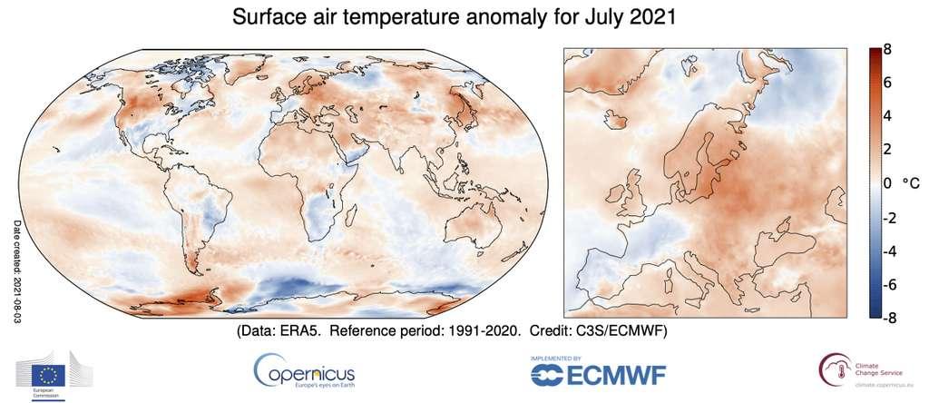 Anomalies de température pour juillet 2021 par rapport à la moyenne de juillet pour la période 1991-2020. © Copernicus Climate Change Service/ECMWF
