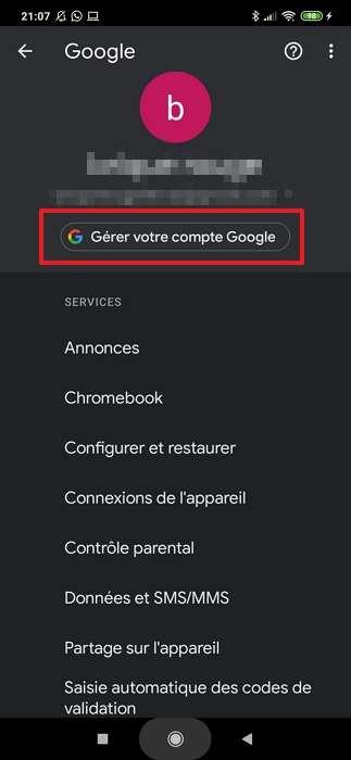 Appuyez sur « Gérer votre compte Google ». © Google Inc.