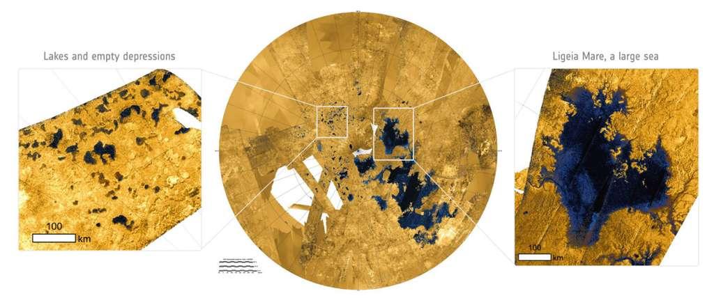 Image radar du pôle nord de Titan (au centre). La région est constellée de petits lacs et de mers de méthane liquide (les taches bleu sombre). Encart à droite : agrandissement de Ligeia Mare, deuxième plus grande mer après celle de Kraken (en dessous) à laquelle elle est reliée par un réseau de rivière. © Nasa, Esa, JPL-Caltech, ASI, USGS