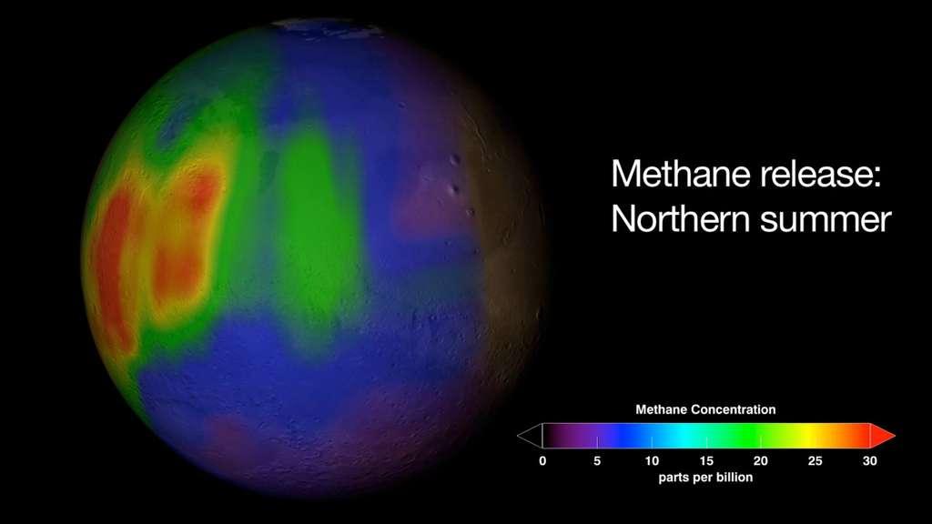Concentrations de méthane dans l'atmosphère martienne (ppb, part per billion ou partie par milliard). C'est du moins ce que laissaient penser les observations de Michael Mumma qui, pendant sept ans, a observé la planète. En 2009, ses conclusions menaient à l'existence de variations saisonnières d'émissions de méthane. Curiosity, sur place, n'est pas de cet avis. Les résultats de ses observations ne montrent pas de telles concentrations de méthane. © Nasa, GSFC